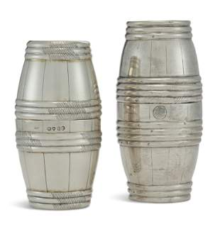 TWO SILVER DOUBLE BEAKERS