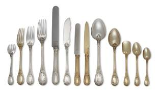 A FRENCH SILVER AND SILVER-GILT FLATWARE SERVICE