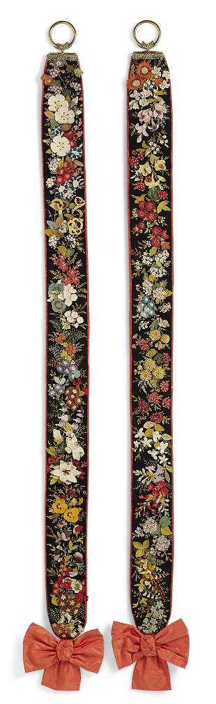 A PAIR OF VICTORIAN FELT AND EMBROIDERED BELL PULLS