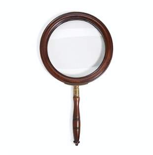 AN LATE VICTORIAN BRASS-MOUNTED MAHOGANY MAGNIFYING