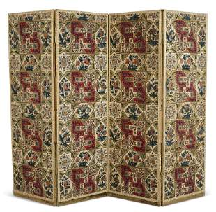 A VICTORIAN FOUR-PANEL SILK AND WOOL NEEDLEWORK SCREEN