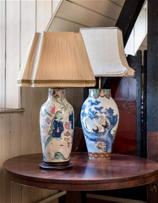 TWO CERAMIC VASES, MOUNTED AS LAMPS