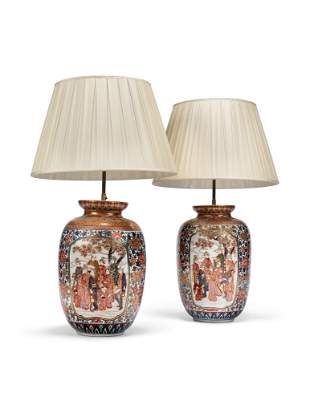 A PAIR OF JAPANESE IMARI PORCELAIN VASES, MOUNTED AS