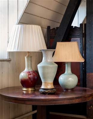 A GROUP OF THREE CHINESE VASES, TWO MOUNTED AS LAMPS