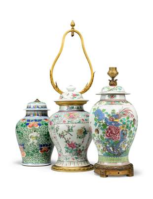 A GROUP OF THREE CHINESE PORCELAIN VASES AND COVERS,