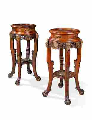 A PAIR OF FRENCH ORMOLU-MOUNTED MAHOGANY 'JAPONISME'