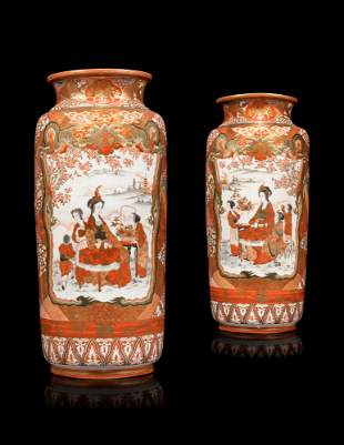 A PAIR OF JAPANESE KUTANI-STYLE VASES, ON STANDS