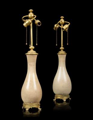 A PAIR OF FRENCH 'JAPONISME' ORMOLU-MOUNTED CERAMIC
