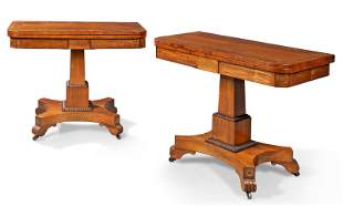 A PAIR OF GEORGE IV BRASS-INLAID ROSEWOOD CARD TABLES