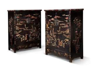 A PAIR OF CHINESE MOTHER-OF-PEARL, SOAPSTONE, AND