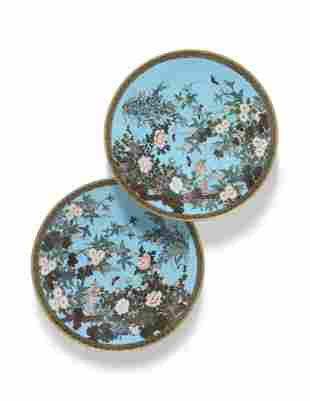 A PAIR OF JAPANESE TURQUOISE-GROUND CLOISONNE ENAMEL