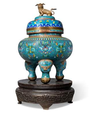 A CHINESE CLOISONNE-ENAMEL LARGE TRIPOD CENSOR AND