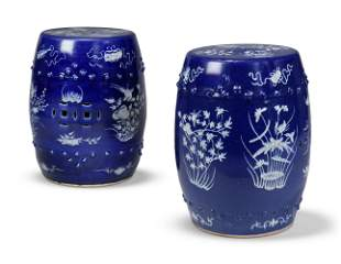 A NEAR PAIR OF CHINESE COBALT-BLUE AND WHITE GARDEN