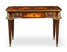 A FRENCH ORMOLU-MOUNTED AMARANTH SYCAMORE, PLANE AND