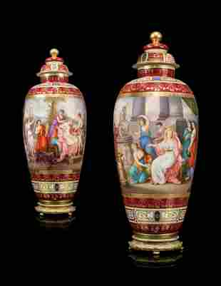 A PAIR OF LARGE VIENNA-STYLE PORCELAIN CLARET-GROUND