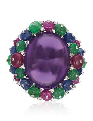 MICHELE DELLA VALLE AMETHYST AND MULTI-GEM RING