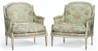 A PAIR OF LOUIS XVI WHITE-PAINTED MARQUISES