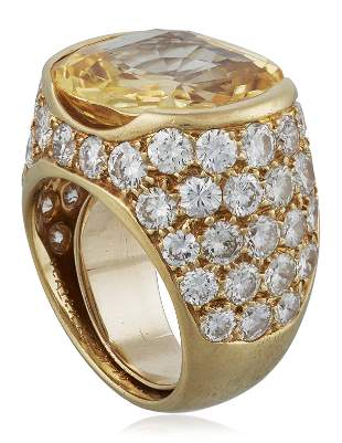 VAN CLEEF & ARPELS YELLOW SAPPHIRE AND DIAMOND RING