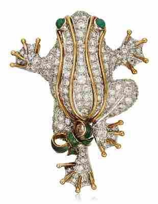 DIAMOND AND EMERALD FROG BROOCH
