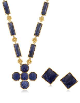 ILIAS LALAOUNIS SET OF SODALITE AND GOLD JEWELRY