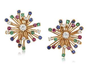 CARTIER MULTI-GEM AND DIAMOND EARRINGS