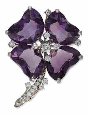 OSCAR HEYMAN AMETHYST AND DIAMOND FLOWER BROOCH