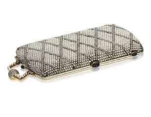 ART DECO DIAMOND, SEED PEARL AND SAPPHIRE VANITY CASE