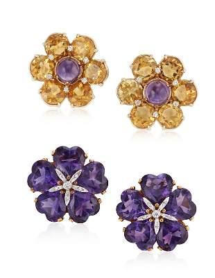 TWO PAIRS OF DIAMOND AND MULTI-GEM FLOWER EARRINGS