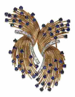 SAPPHIRE AND DIAMOND DOUBLE-CLIP BROOCH