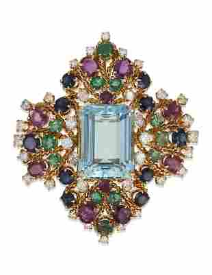 AQUAMARINE, DIAMOND AND MULTI-GEM PENDANT BROOCH WITH