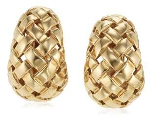 TIFFANY & CO. GOLD 'VANNERIE' EARRINGS
