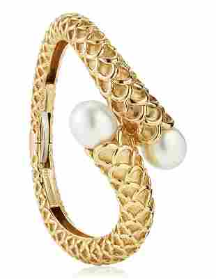 ANGELA CUMMINGS, ASSAEL CULTURED PEARL AND GOLD BANGLE