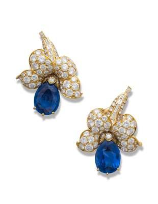 VAN CLEEF & ARPELS SAPPHIRE AND DIAMOND EARRINGS