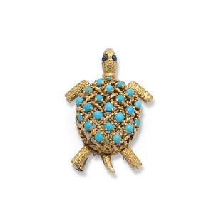 CARTIER PARIS TURQUOISE AND SAPPHIRE TURTLE BROOCH