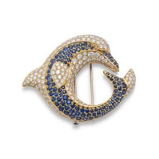 REZA SAPPHIRE, DIAMOND AND COLOURED DIAMOND BROOCH