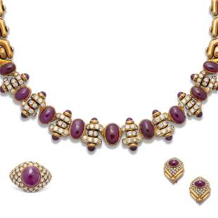 BULGARI RUBY AND DIAMOND NECKLACE AND EARRING SET; A