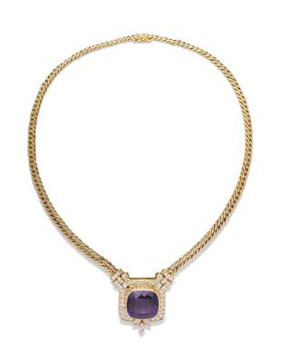 AMETHYST AND DIAMOND PENDENT NECKLACE