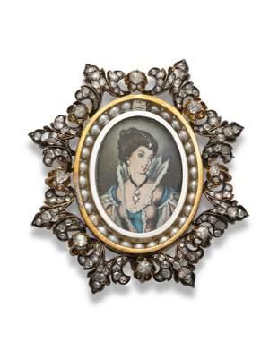 LATE 19TH CENTURY ENAMEL, DIAMOND AND SEED PEARL BROOCH