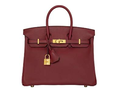 A ROUGE GRENAT SWIFT LEATHER BIRKIN 25 WITH GOLD