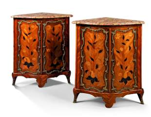 A PAIR OF LOUIS XV ORMOLU-MOUNTED TULIPWOOD AND