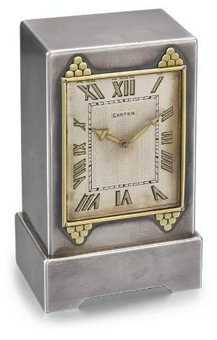 CARTIER, ART DECO SILVER AND GOLD, 8-DAY GONG DESK