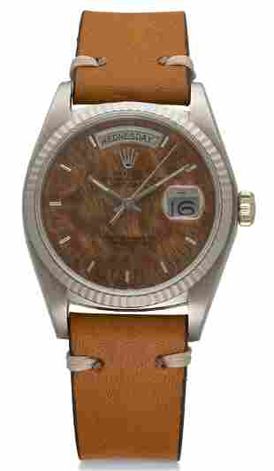 ROLEX, DAY-DATE, 18K WHITE GOLD, WOOD DIAL, REF. 18039