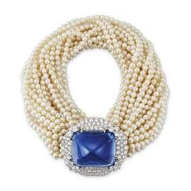 CARTIER SAPPHIRE, DIAMOND AND CULTURED PEARL BRACELET