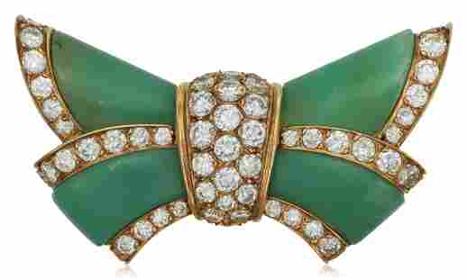 VAN CLEEF & ARPELS CHRYSOPRASE AND DIAMOND BOW BROOCH