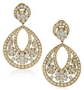VAN CLEEF & ARPELS DIAMOND 'SNOWFLAKE' EARRINGS