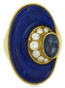 BULGARI LAPIS LAZULI, SAPPHIRE AND DIAMOND RING