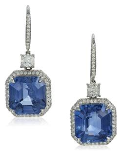 NO RESERVE   SAPPHIRE AND DIAMOND EARRINGS