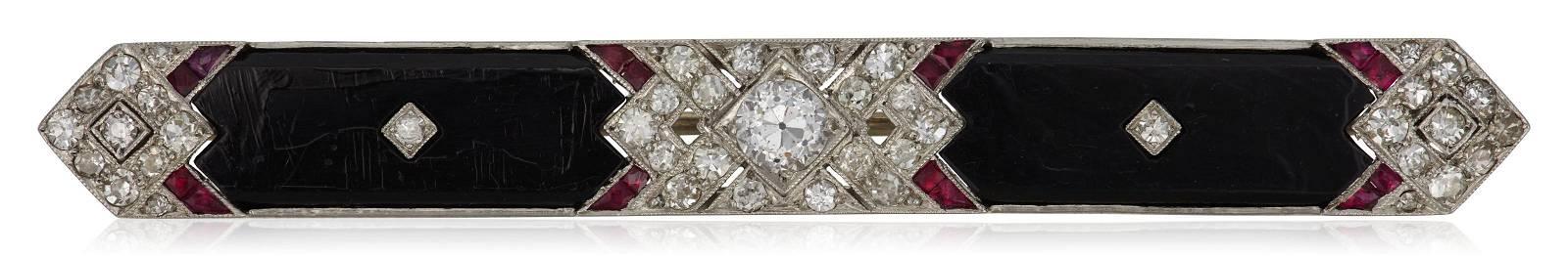 TIFFANY & CO. ART DECO DIAMOND, RUBY AND ONYX BROOCH