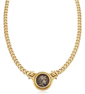 BULGARI COIN, RUBY AND GOLD NECKLACE
