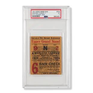 1924 World Series Game (6) ticket stub